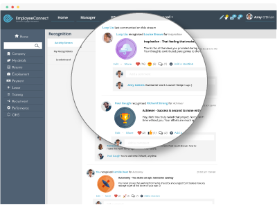Recognition Activity Stream - EmployeeConnect